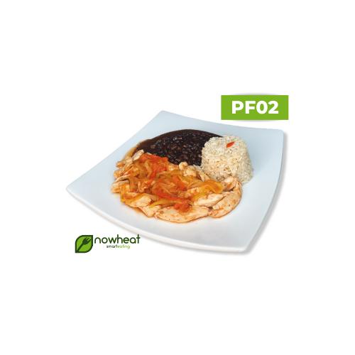 Pf02: arroz, feijão e frango xadrez 400g