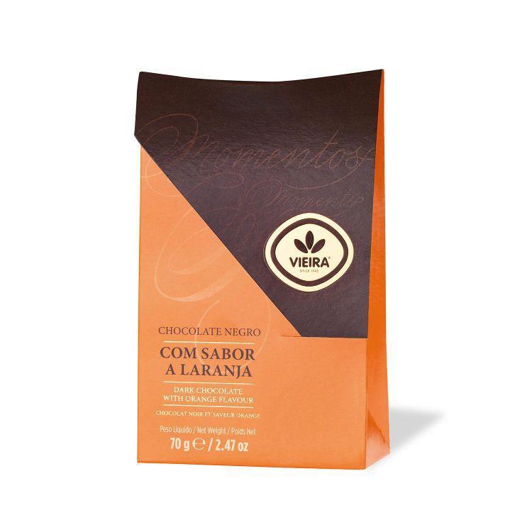 Chocolate negro com sabor laranja