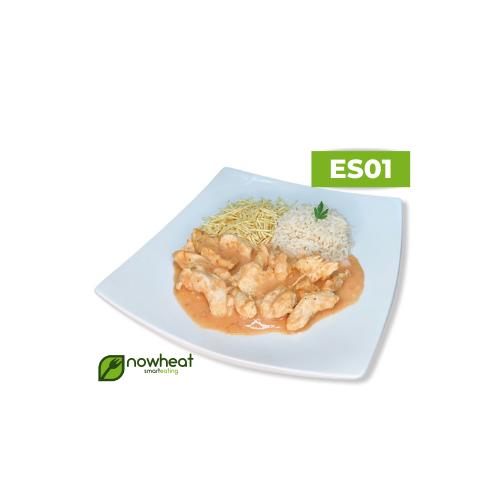 Es01: estrogonofe de frango, arroz branco e batata palha 400g