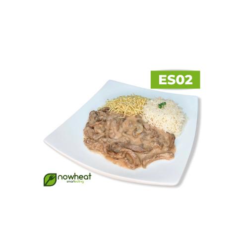 Es02: estrogonofe de carne, arroz e batata palha 400g