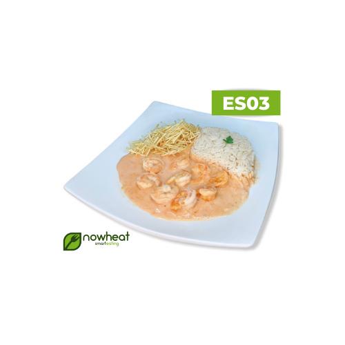 Es03: estrogonofe de camarão, arroz e batata palha 400g