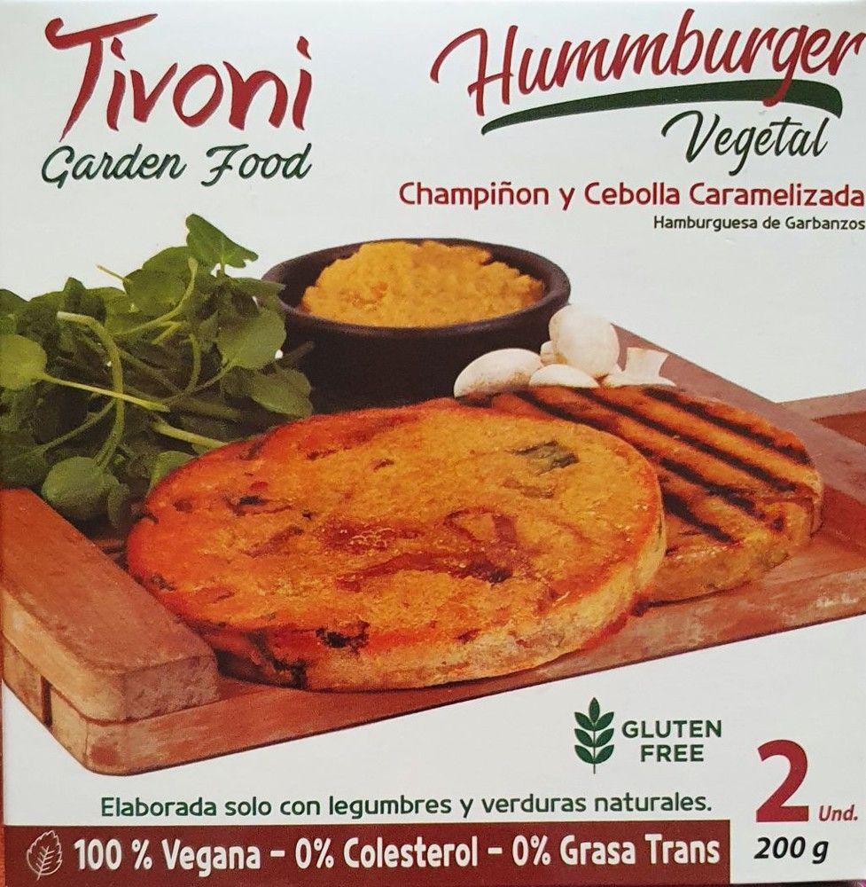 Hummburger de champiñon y cebolla caramelizada, vegano, sin gluten, 2 unidades, 200 grs (congelado)
