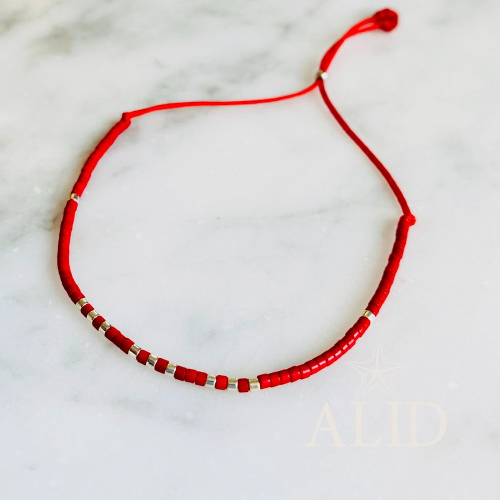 Pulsera miyuki roja plata