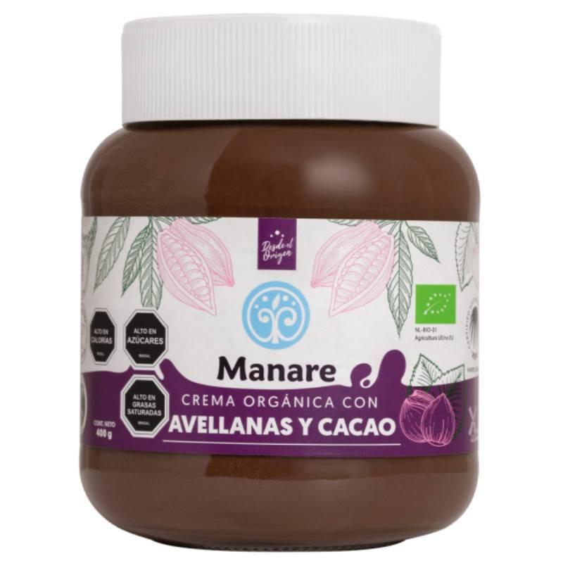 Crema orgánica con avellanas y cacao. sin gluten, 400 g