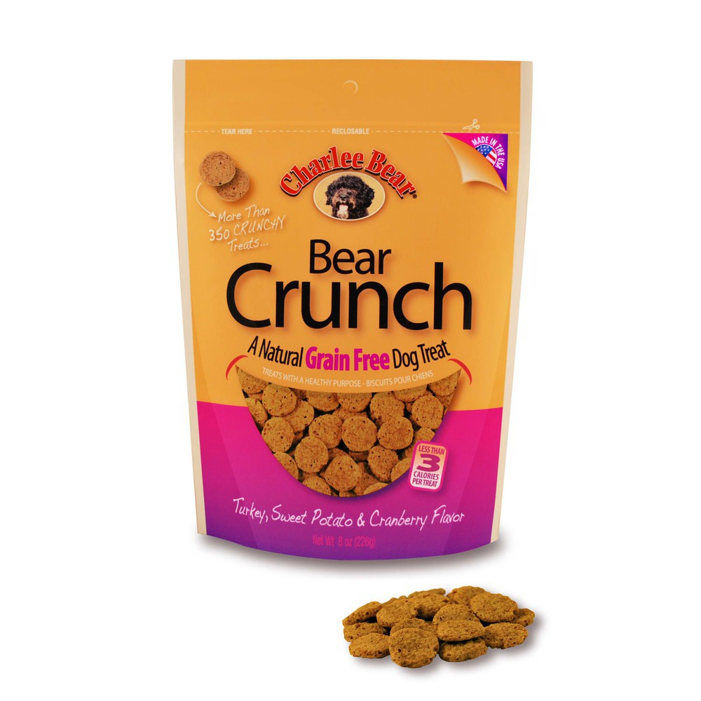 Charlee bear grain free turkey, sweet potato & cranberry bear crunch dog treats, 8 oz.