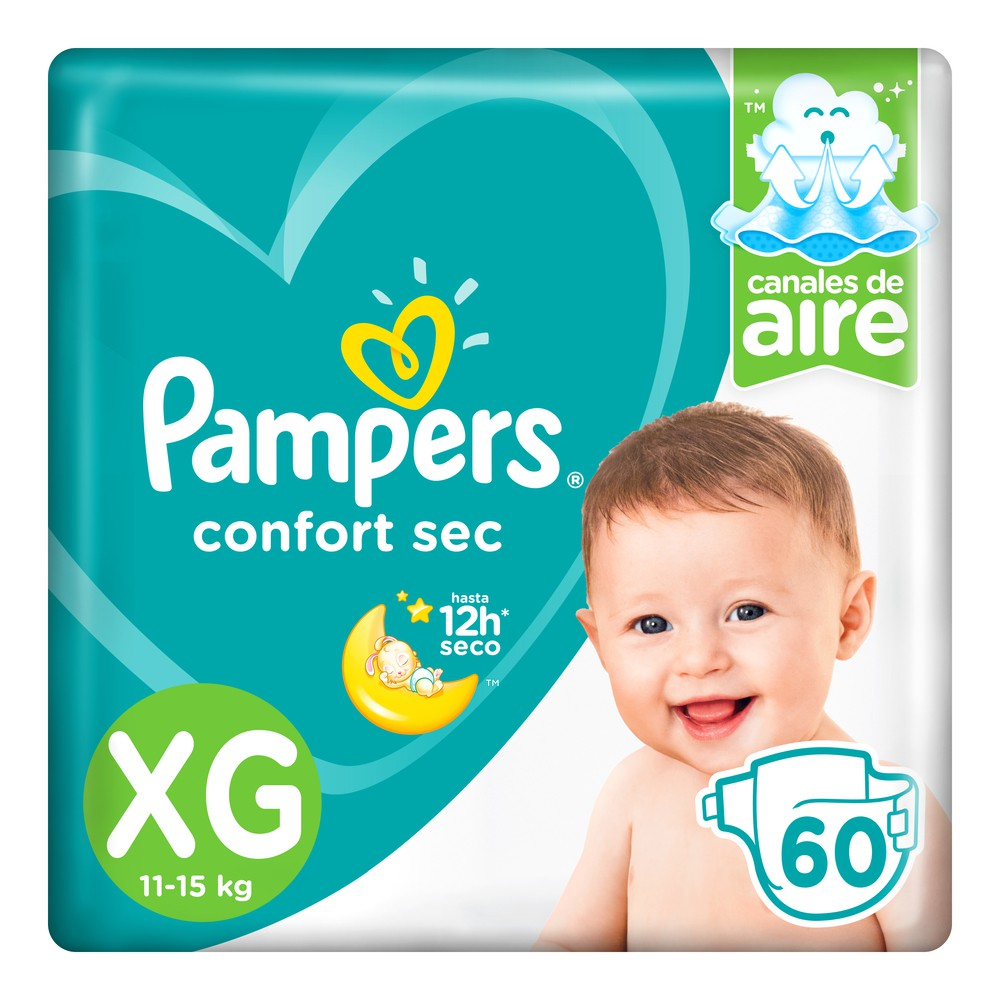 Pañal pampers confort seco xg 60 unidades