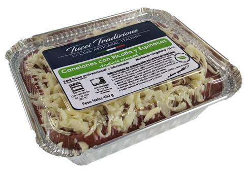 Canelones con espinacas y ricotta Individual (450 g)