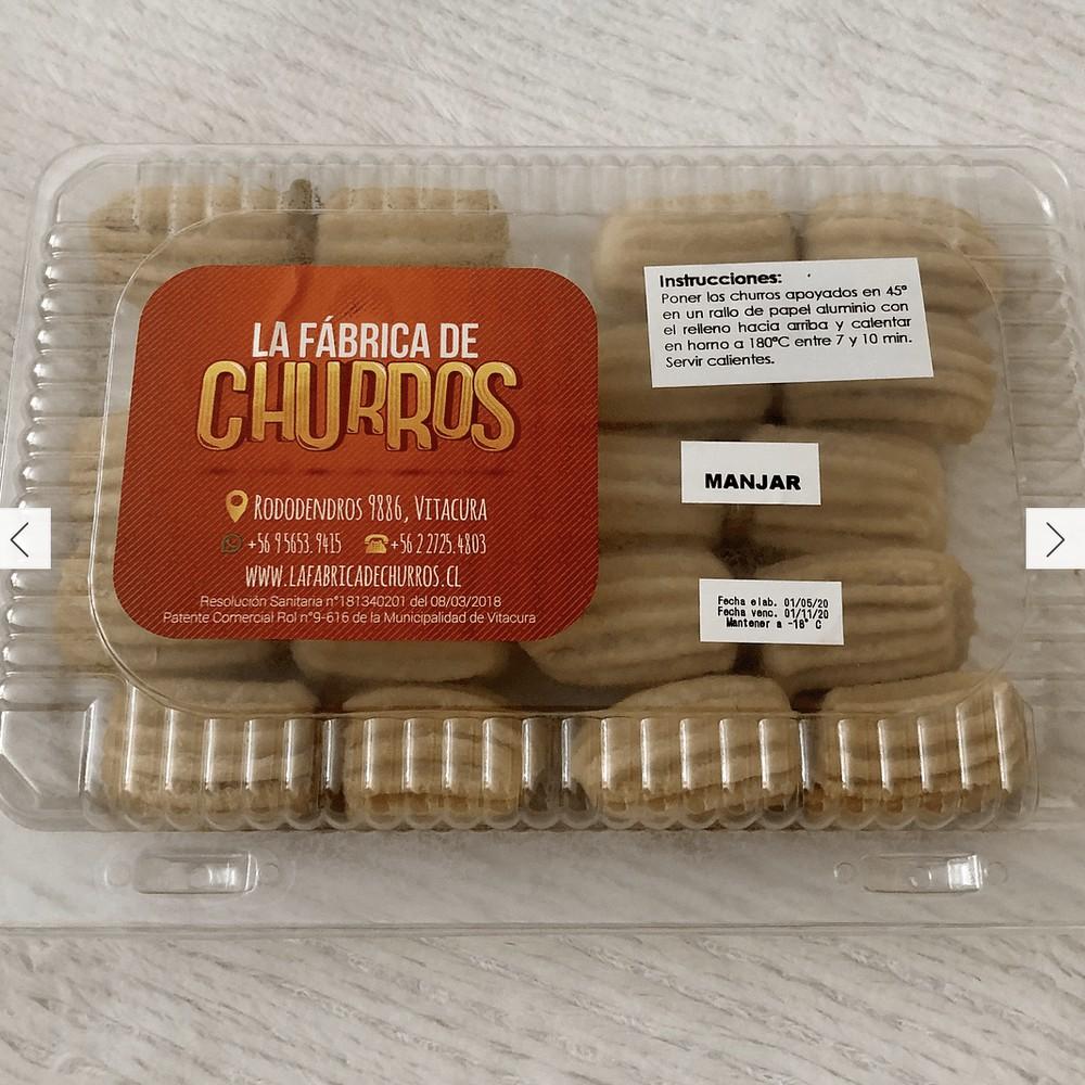Churros mini rellenos con manjar Caja con 20 ú