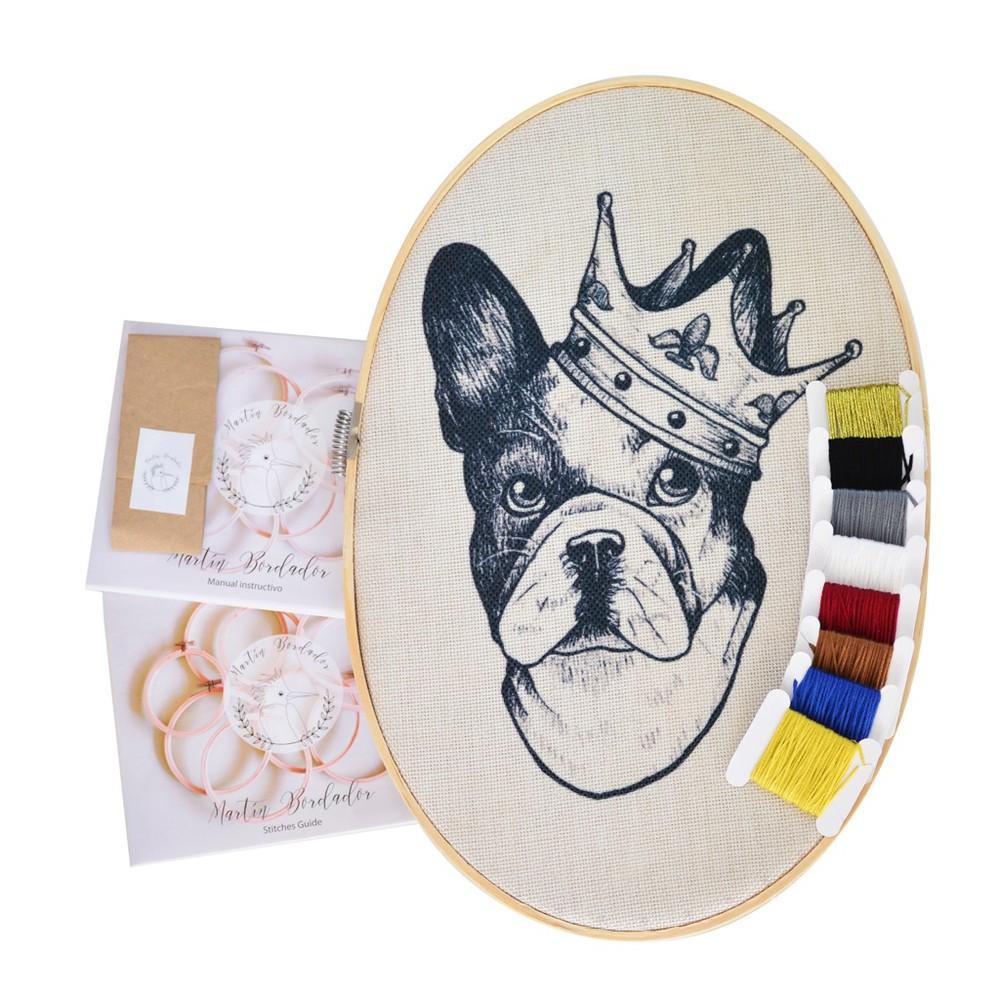 Kit ovalado para bordar bulldog 30 cm