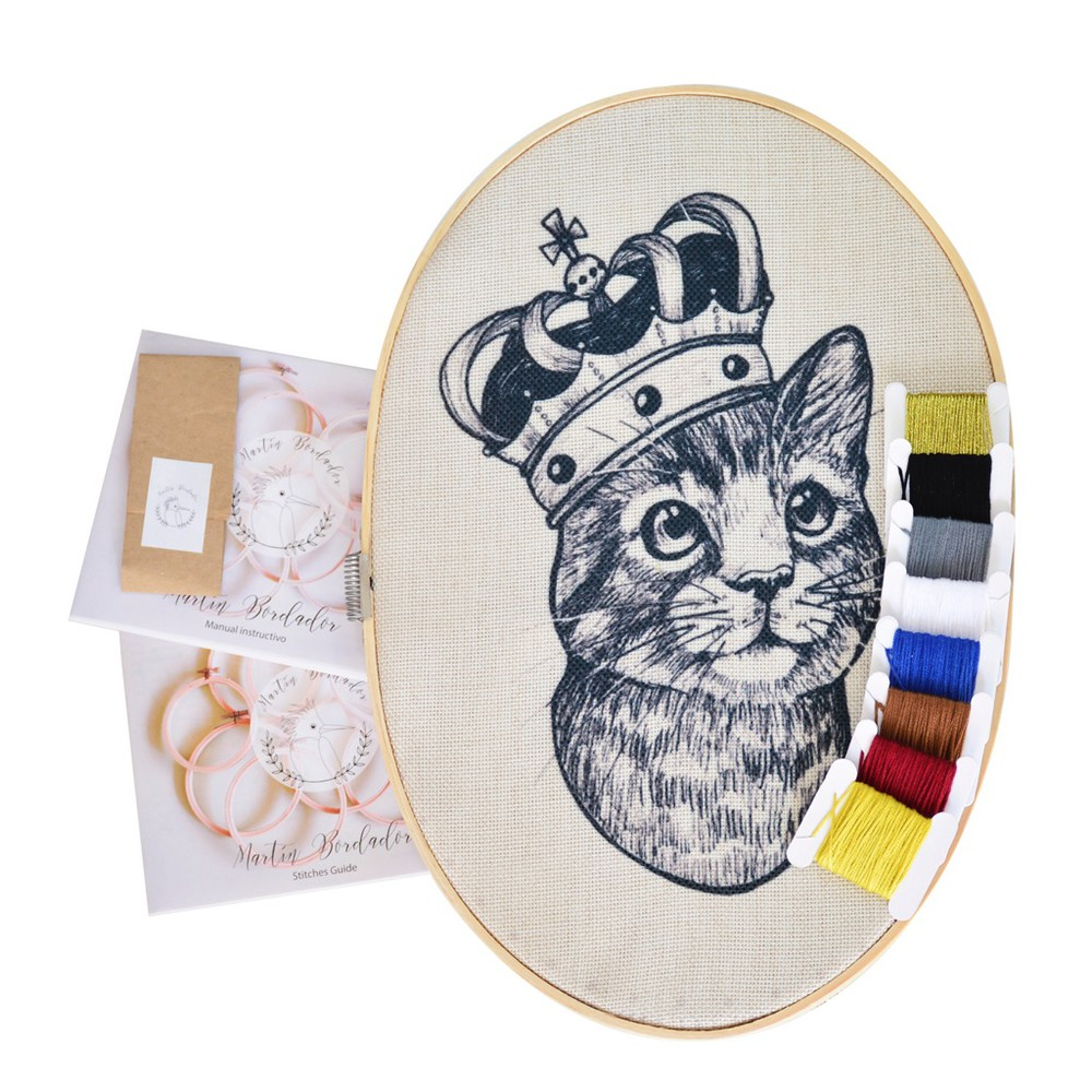 Kit ovalado para bordar gato 30 cm