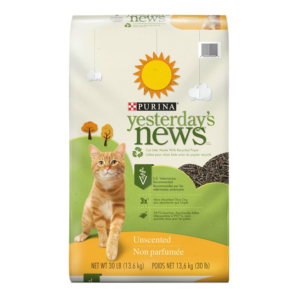 Purina yesterday's news paper unscented low tracking cat litter 30 lbs