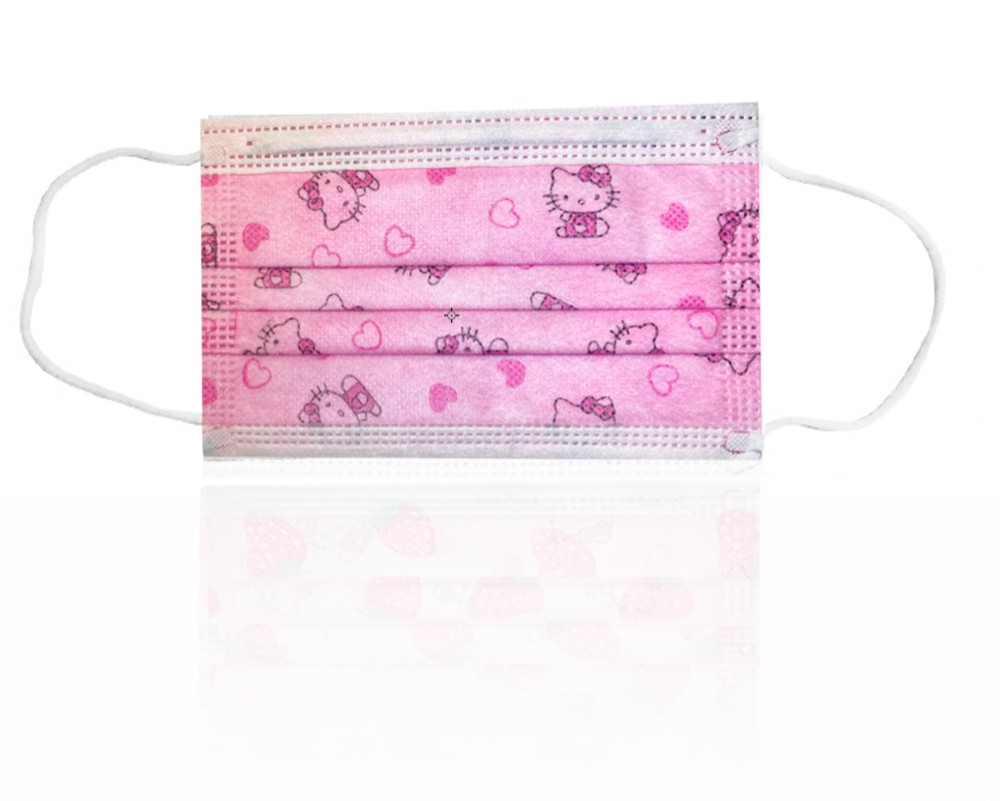 Mascarilla desechable 3 pliegues rosa 10 u