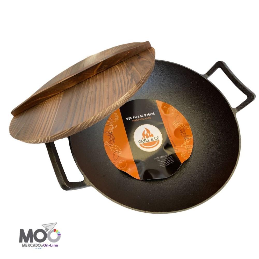 Wok con tapa de madera - hierro fundido Unidad