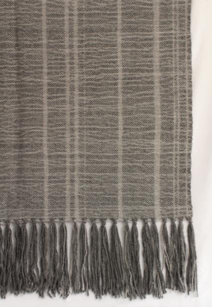 Piecera king de alpaca gruesa gris medio y gris