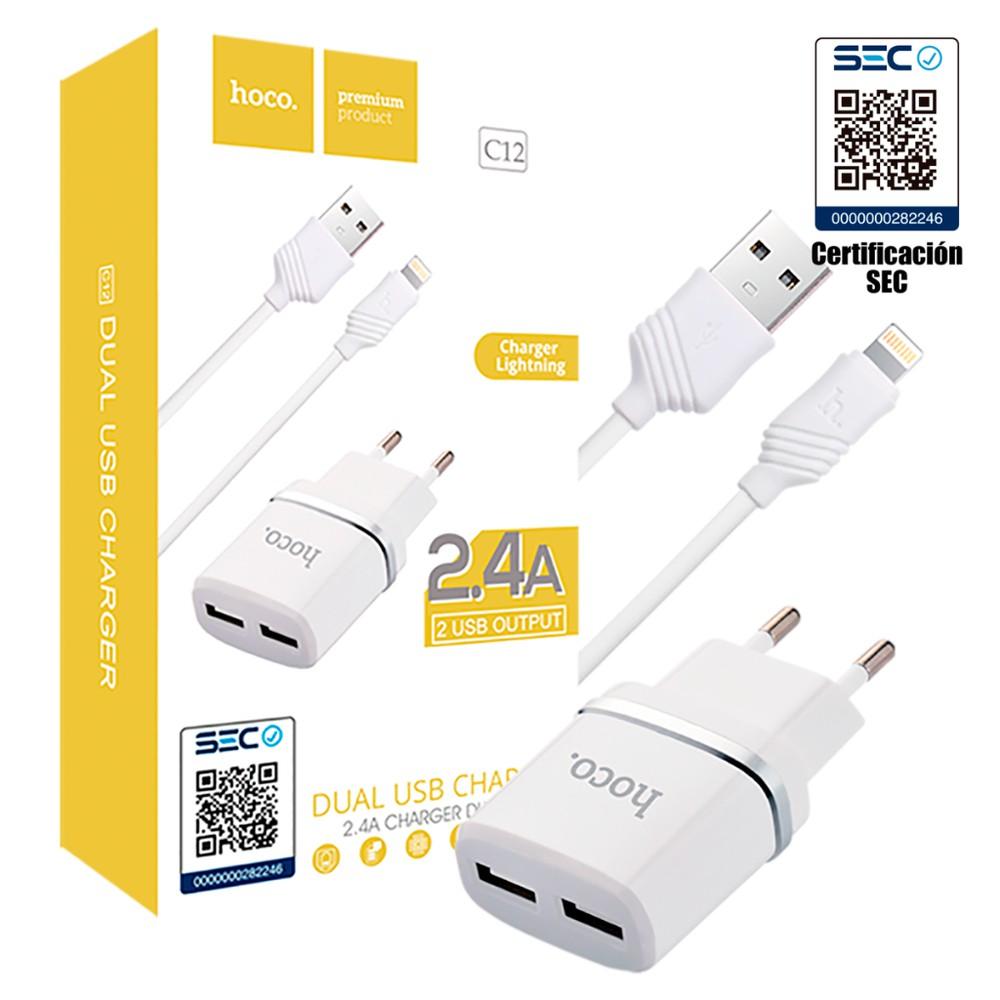 Home Charger / Cargador Certificado con Cable iPhone Lightning 1Un