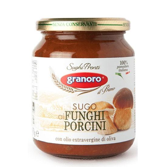 Salsa de tomates y champiñones lista, al funghi porcini, 370 grs marca granoro