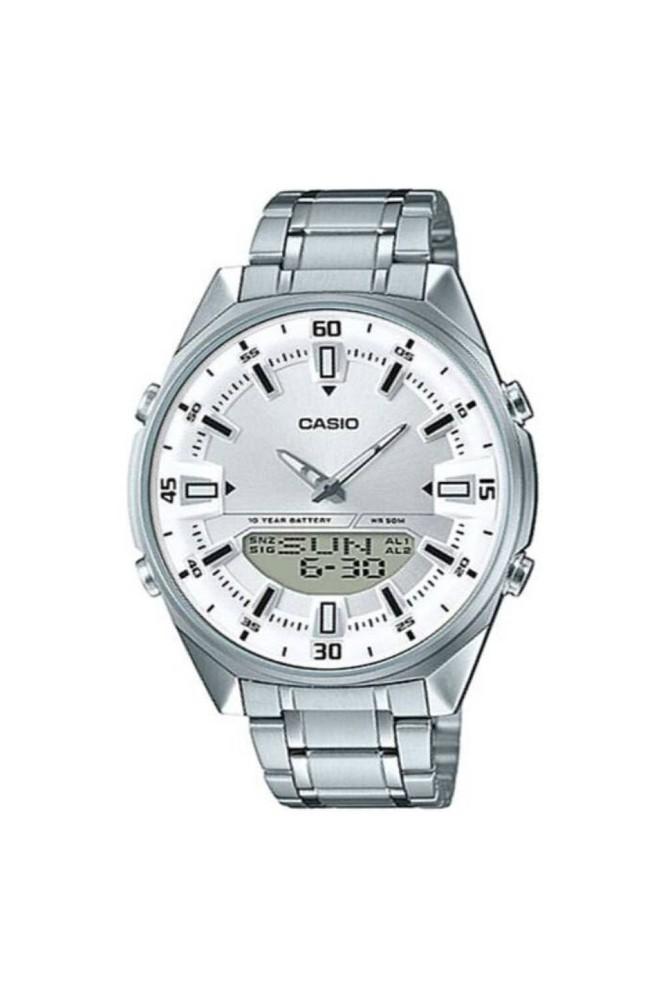 Reloj análogo hombre plateado