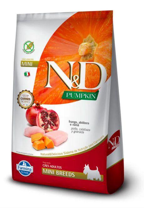 Ração pumpkin para cães adultos raças pequenas frango N&D 2,5kg