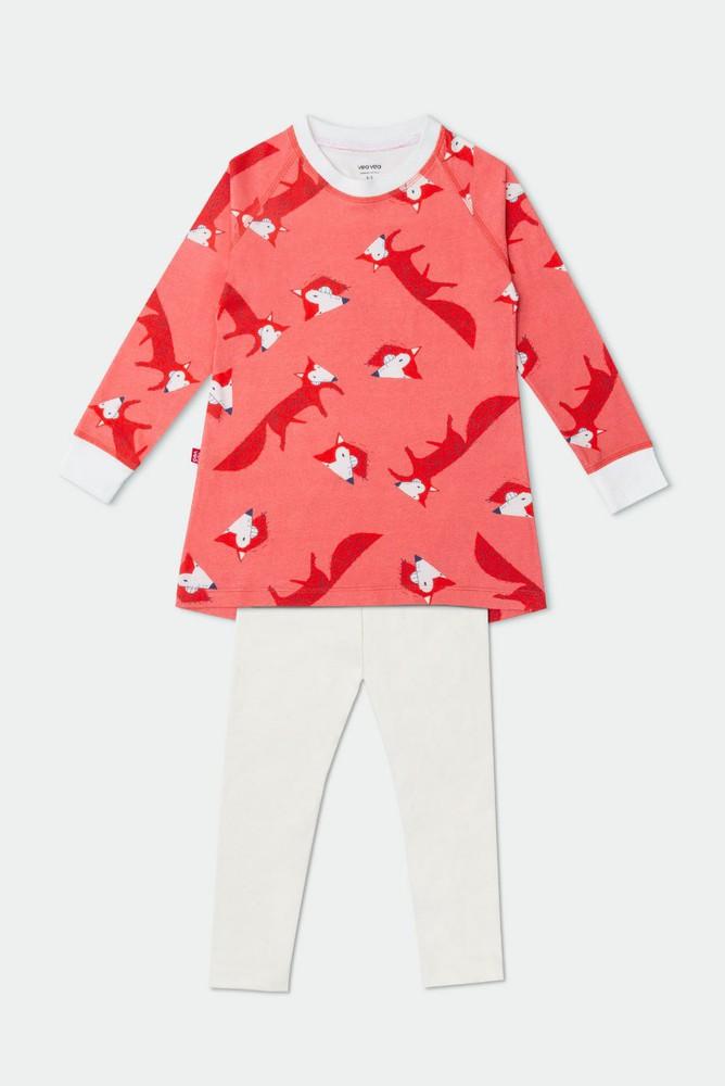 Pijama lobito rosa / 2 piezas - algodón orgánico 2 a 3 años