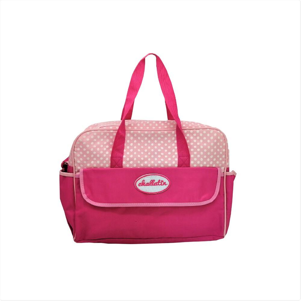 Bolso con puntitos rosado Mediadas 33x4x39cm