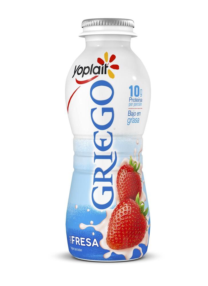 Yoghurt bebible estilo griego con fresas