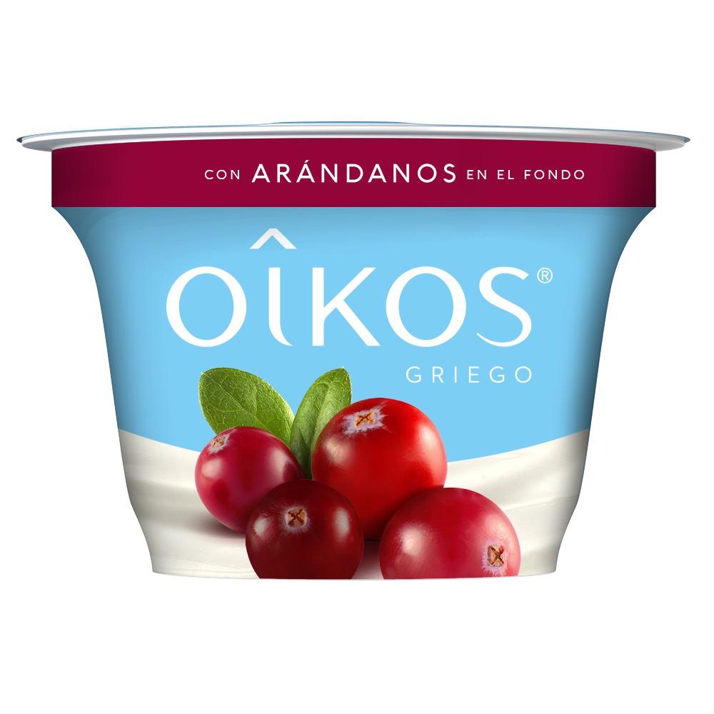 Yoghurt estilo griego con arándanos en el fondo
