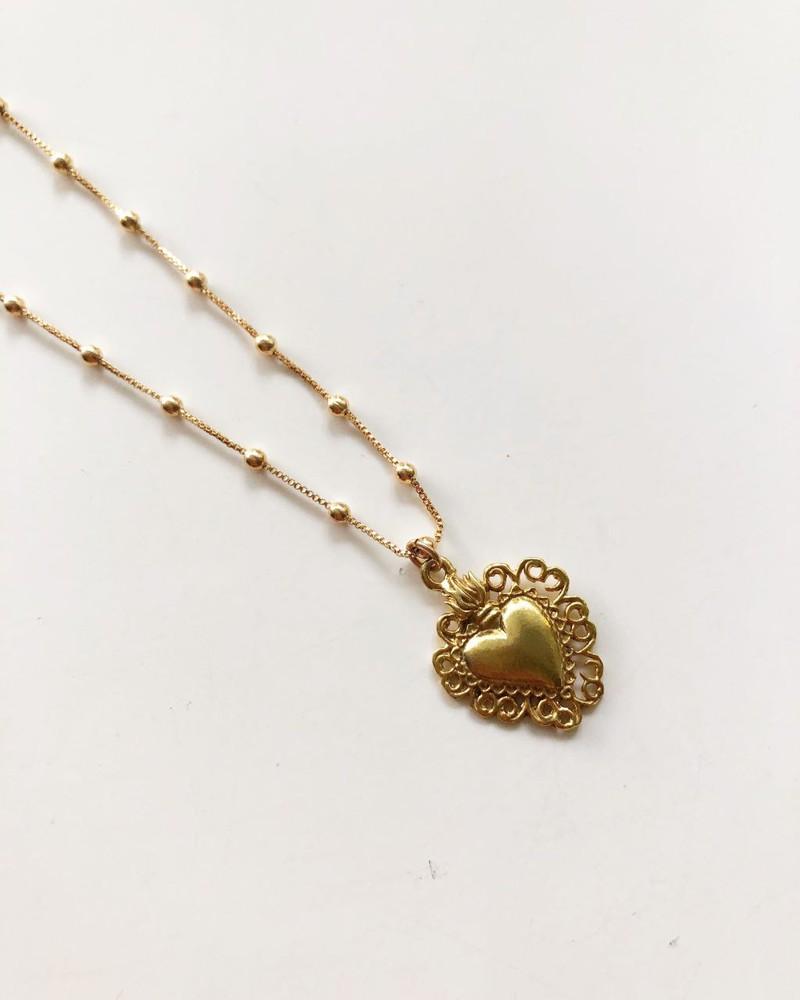 Collar detente bolitas baño oro Cadena de 45 cm  tamaño del corazón ancho 1,5 cm alto 1