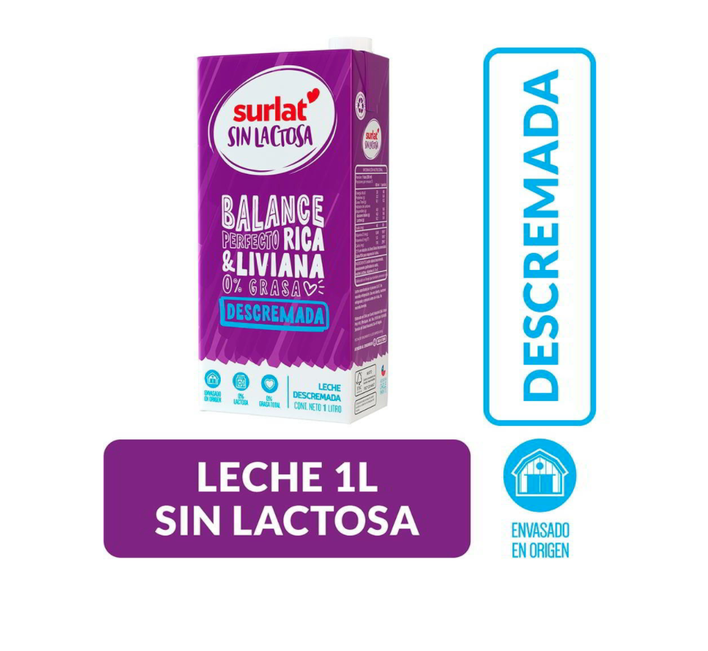 Leche descremada sin lactosa con tapa 1 L