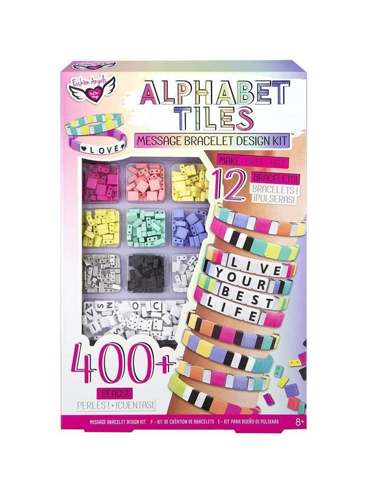 Set para hacer pulseras con el alfabeto Caja
