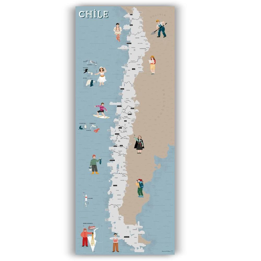 Mapa raspable de chile - lámina
