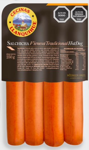 Salchicha vienesa tradicional hot dog 250 g