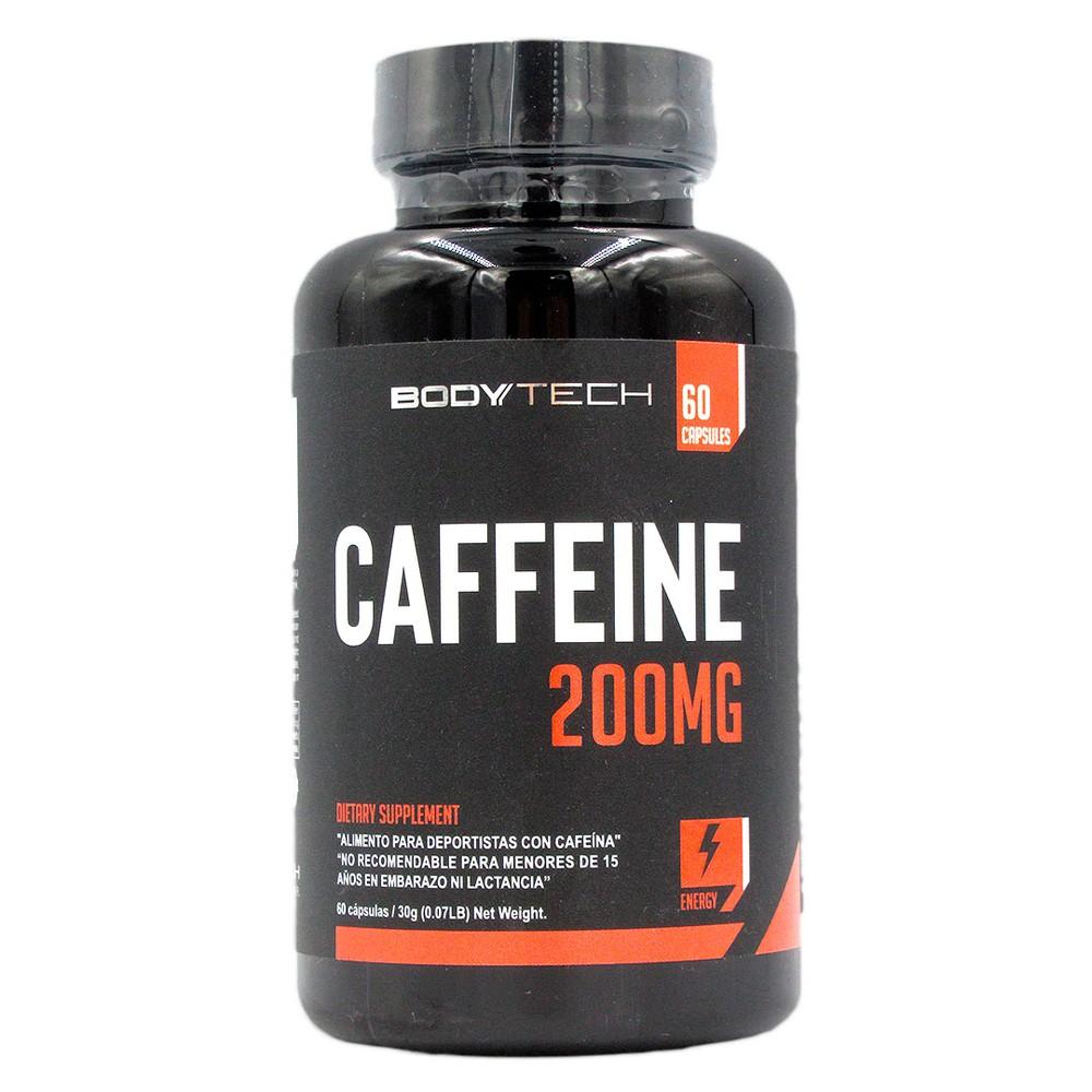Cafeina 200 mg, 60 capsulas, marca body tech