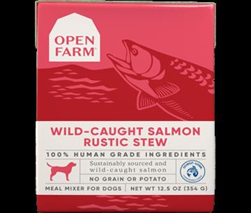 Wild-caught salmon rustic stew dog food -