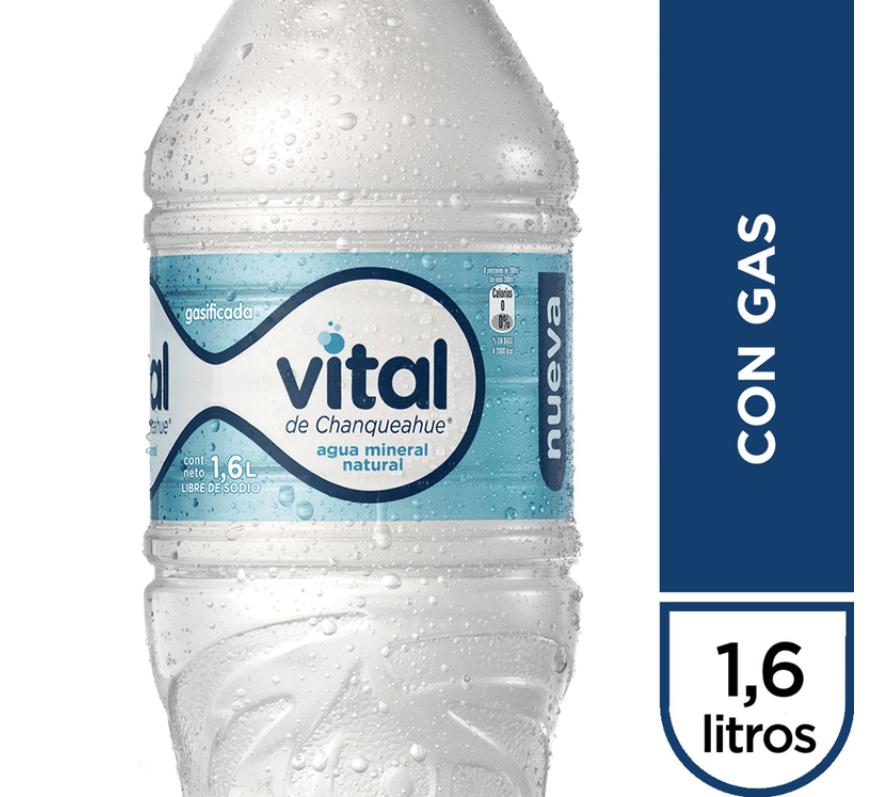 Agua mineral con gas 1.6 Litros
