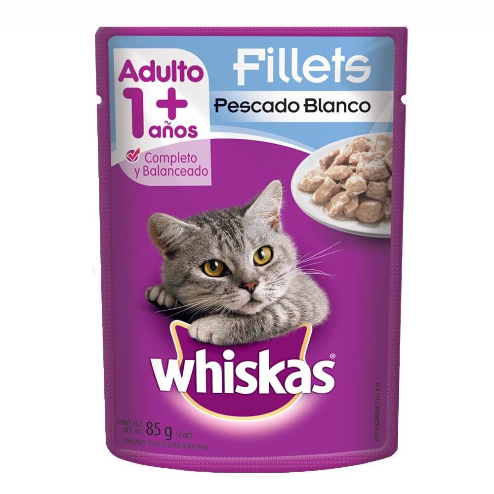 Alimento húmedo para gatos fillets pescado blanco
