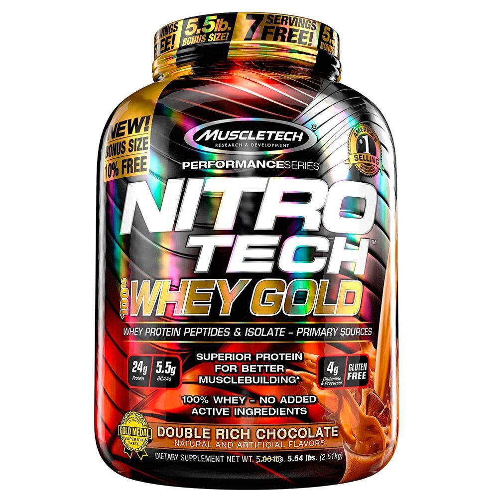 Nitrotech Whey Gold sabor Double rich chocolate Proteína de 5,5 Lbs - 75 batidos