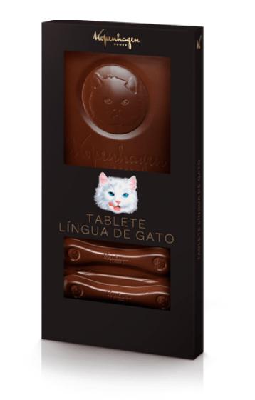 Língua de gato tablete ao leite