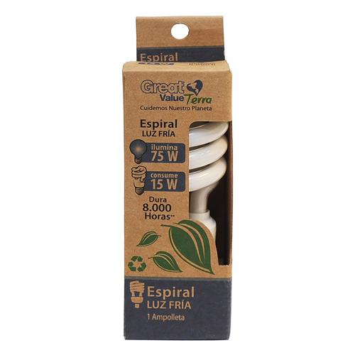 Great Value, Ampolleta Fluorecente Espiral Luz Fria 75 W