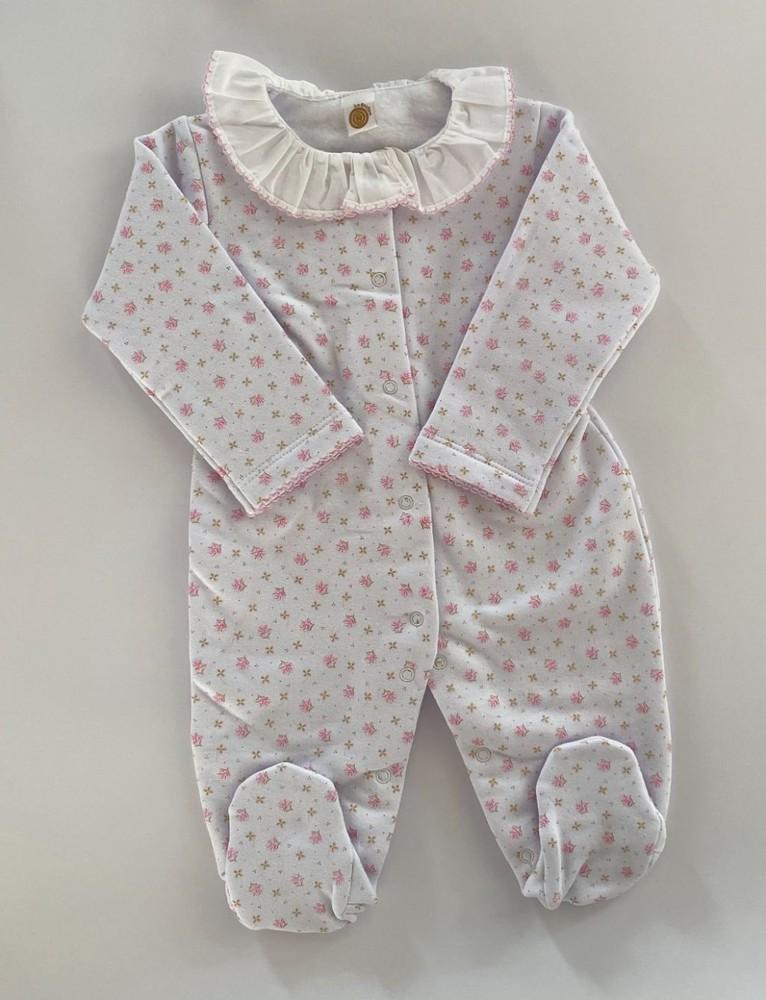 Pijama enterito floreado rosado