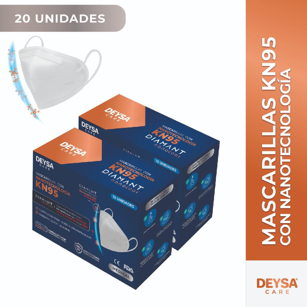 Mascarillas kn95, 5 capas con nanotecnología 2 cajas (20 un) 2 Display de 10 unidades c/u (20 UN).