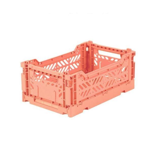 Mini salmon pink MINIBOX: - Medidas exterior: 27 x 17 x 10,5 cm - Medidas interior: 24,6 x 15,7 x 10,4 cm - Medidas plegada: 27 x 17 x 3 cm - Capacidad 4 litros - Resiste hasta 2,5 kg
