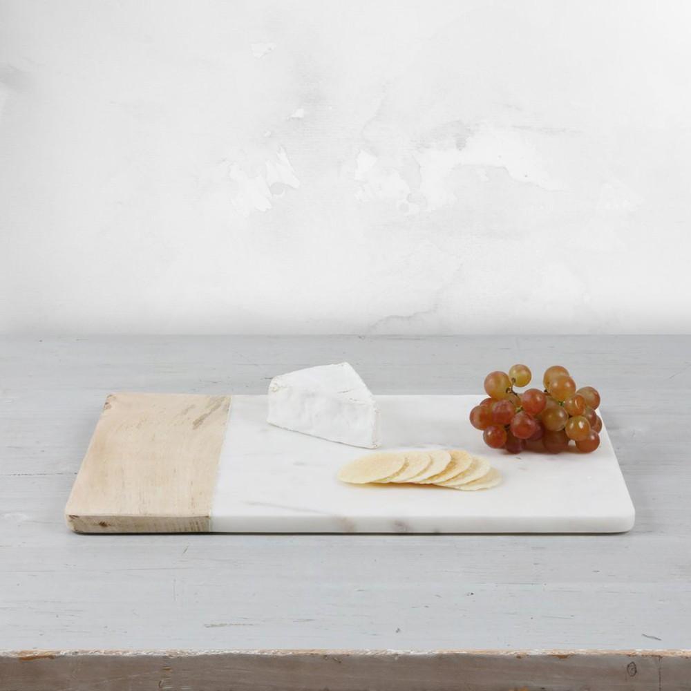 Tabla rectangular madera mármol blanco 25cm * 40 cm unidd