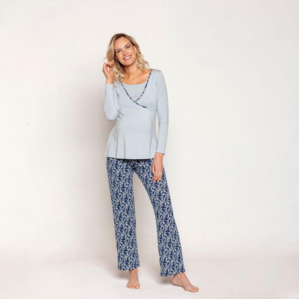 Pijama polera cruzada m/l florcitas celeste Talla M