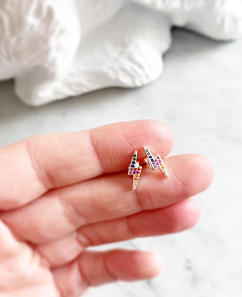 Aros mini rayo plata colores