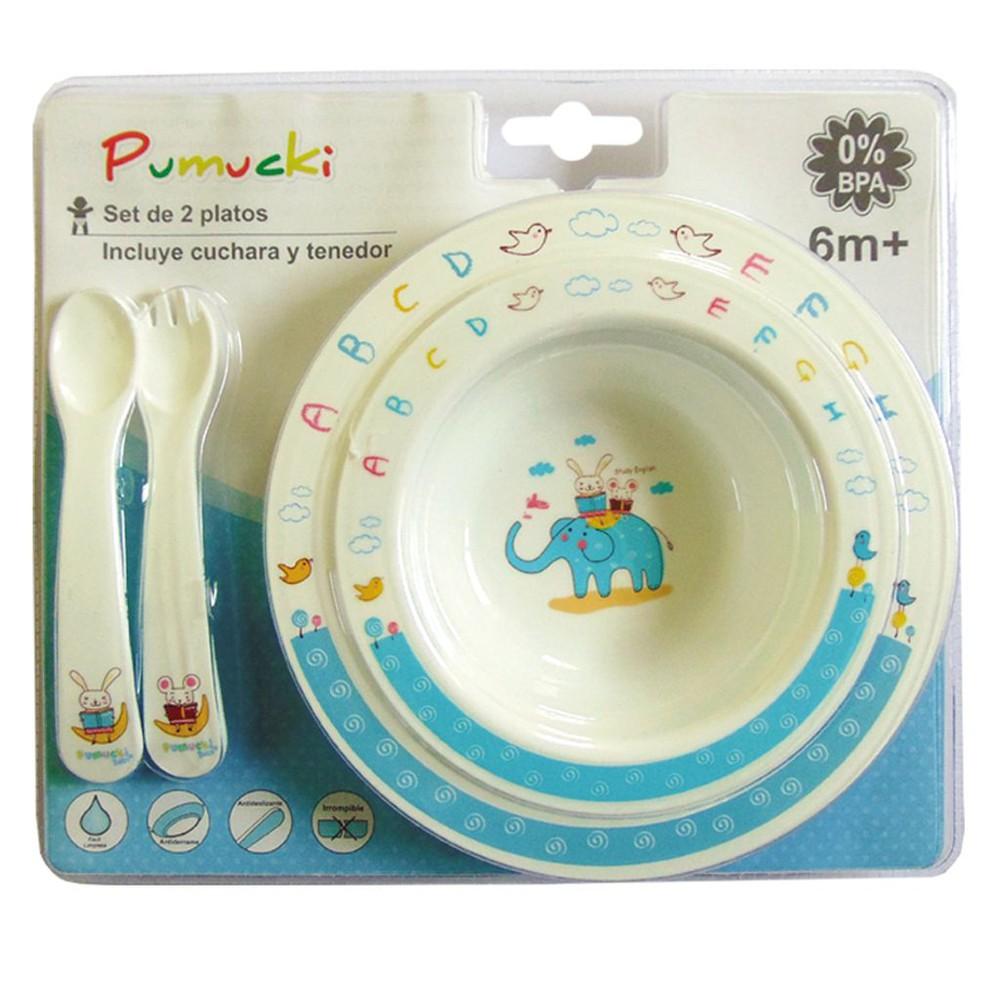 Set de platos y cubiertos para bebé Set de 2 platos + cuchara y tenedor