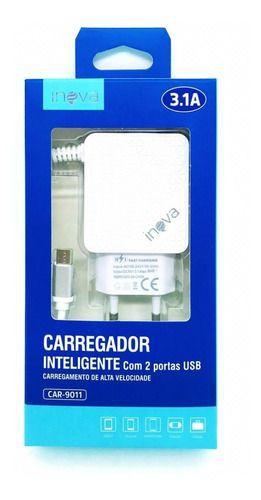 Carregador inova 3.1a - micro usb (v8) embalagem contendo 1 unidade