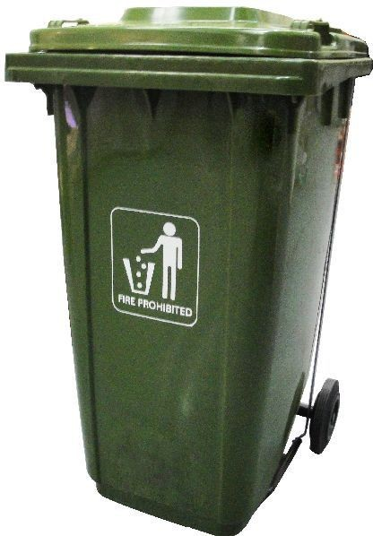 Basurero plast verde tapa+rueda 100 litros
