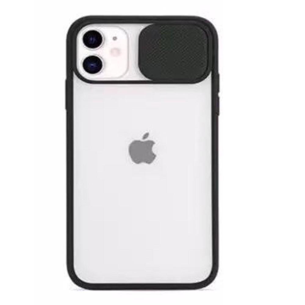 Carcasa negra c/ protector lente Iphone 12 - Silicona transparente