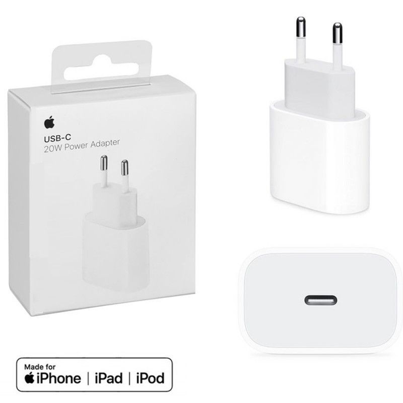 Cargador adaptador pared tipo C iPhone  11, 12 carga rápida certificado