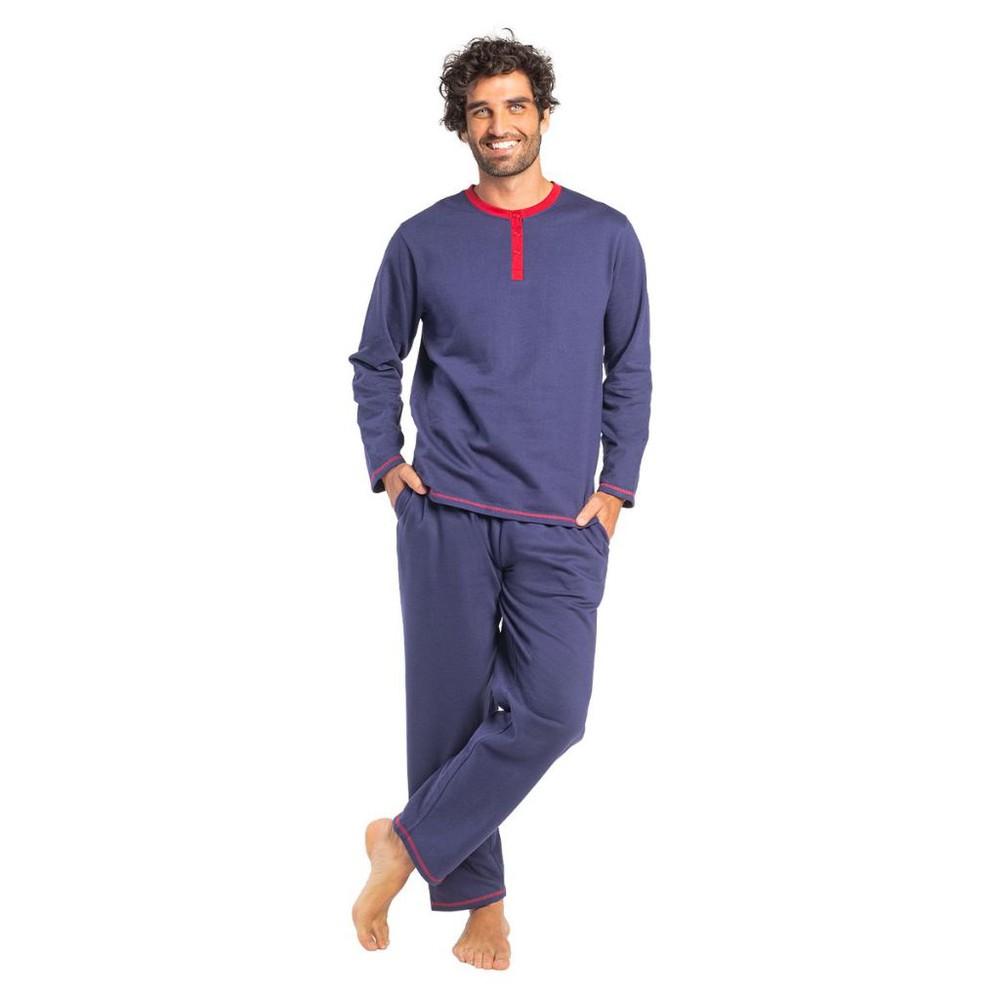 Pijama largo algodón franela mt30110 azul